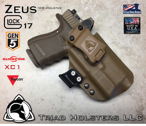 """ARES Holster shown for the Glock 17 Gen 5 equipped with the Surefire XC1 weapon mounted light and a RMR Optic, Right Hand Draw, in Coyote Tan, with Coyote Tan Enhanced Triad Spartan 1.5"""" Clip, Zero Cant Angle"""