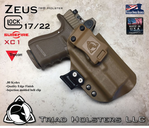 """ARES Holster shown for the Glock 22 equipped with the Surefire XC1 weapon mounted light and a RMR Optic, Right Hand Draw, in Coyote Tan, with Coyote Tan Enhanced Triad Spartan 1.5"""" Clip, Zero Cant Angle"""
