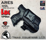 """ARES WML Holster shown for the HK VP9SK equipped with TLR-7, Right Hand Draw, in Tactical Black, with Black Enhanced Triad Spartan 1.5"""" Clip, Zero Cant Angle."""