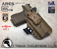"ARES Holster shown for the Glock 19 Gen 5 equipped with a RMR, and the Surefire XC1 weapon mounted light, Right Hand Draw, in Coyote Tan, with Coyote Tan Enhanced Triad Spartan 1.5"" Clip, Zero Cant Angle"