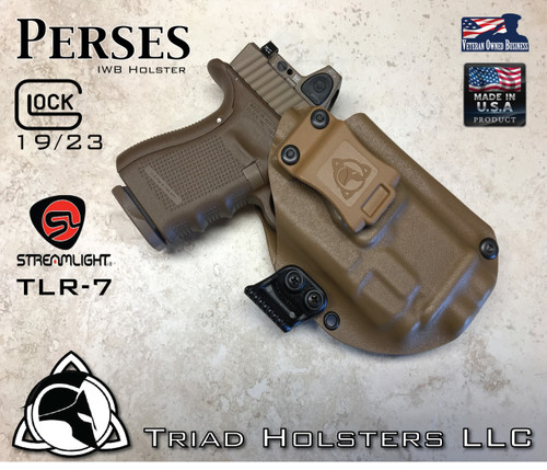 "Perses Holster shown for the Glock 19 equipped with the Streamlight TLR-7 weapon mounted light and RMR Optic, Right Hand Draw, in Coyote Tan, with Coyote Tan Enhanced Triad Spartan 1.5"" Clip, Zero Cant Angle"