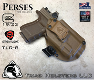 "Perses Holster shown for the Glock 19 equipped with the Streamlight TLR-8 weapon mounted light and RMR Optic, Right Hand Draw, in Coyote Tan, with Coyote Tan Enhanced Triad Spartan 1.5"" Clip, Zero Cant Angle"