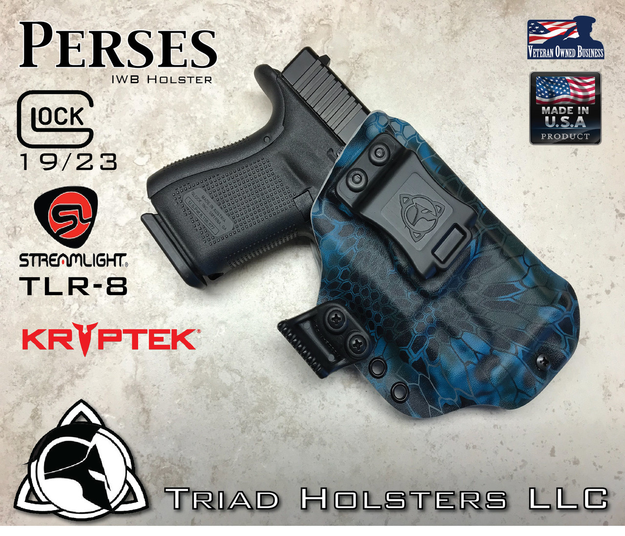 Kydex Holster Glock 19/23 and Streamlight TLR-8 Perses IWB Inside the  Waistband