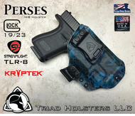 "Perses Holster shown for the Glock 19 equipped with the Streamlight TLR-8 weapon mounted light, Right Hand Draw, in Kryptek Neptune, with Black Enhanced Triad Spartan 1.5"" Clip, Zero Cant Angle"