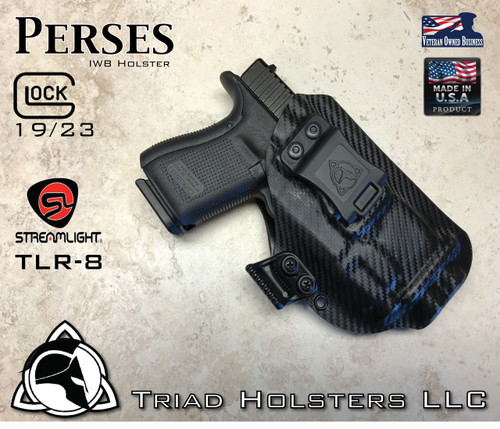 "Perses Holster shown for the Glock 19 equipped with the Streamlight TLR-8 weapon mounted light, Right Hand Draw, in Carbon Fiber, with Black Enhanced Triad Spartan 1.5"" Clip, Zero Cant Angle"