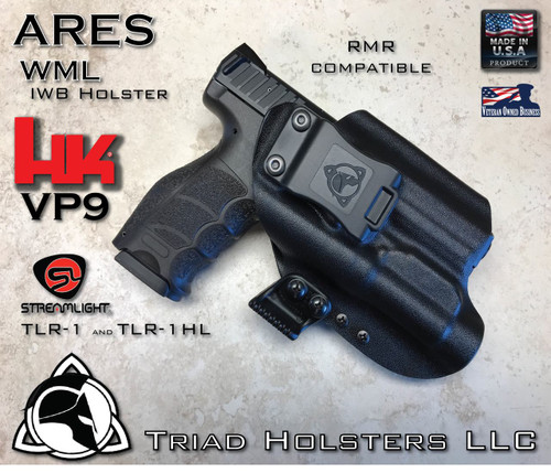 "ARES WML Holster shown for the HK VP9 equipped with the Streamlight TLR-1 or TLR-1HL  weapon mounted light and ready for a RMR Optic, Right Hand Draw, in Tactical Black, with Black Enhanced Triad Spartan 1.75"" Clip, Zero Cant Angle"