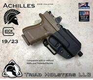 Achilles Outside the Waistband Holster shown for the Glock 19/23, Right Hand Draw, in Tactical Black.