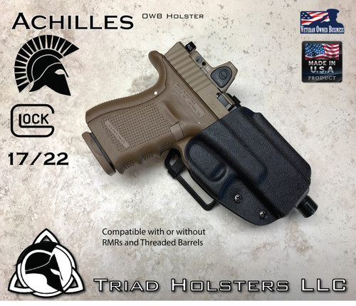 Achilles Outside the Waistband Holster shown for the Glock 17/22, Right Hand Draw, in Tactical Black.