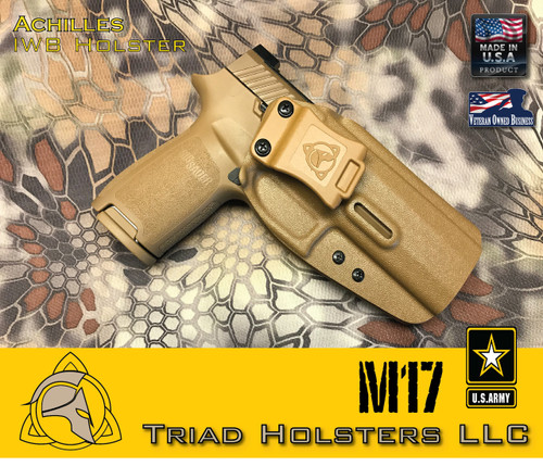 "Achilles Holster for the US Army M17 in Coyote Tan, 1.5"" Triad Enhanced Belt Clip, Right Hand"