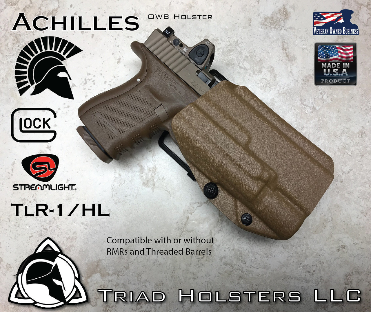 Kydex Holster Glock 17/19/22/23/34/35 TLR-1 Achilles OWB Outside the  Waistband