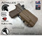 Achilles OWB Holster for the Glock Weapons 17/19/22/23/34/25 equipped with the Streamlight TLR-1 or TLR-1HL, shown in Coyote Tan.
