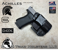 Kydex Holster for the Glock 43X, Achilles model, shown in Tactical Black, Right Hand, with Talon Claw installed.