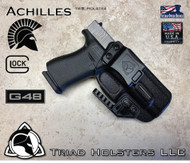 Kydex Holster , Achilles Model for the Glock 48 , shown in Tactical Black, RIght Hand Draw, with Talon Claw installed, 1.5 Inch Belt Clip.