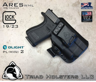 "ARES WML holster for the Glock 19/23,  See product listing for full compatibility list.  Shown in Tactical Black with 1.5"" Belt Clip in Right Hand Draw."