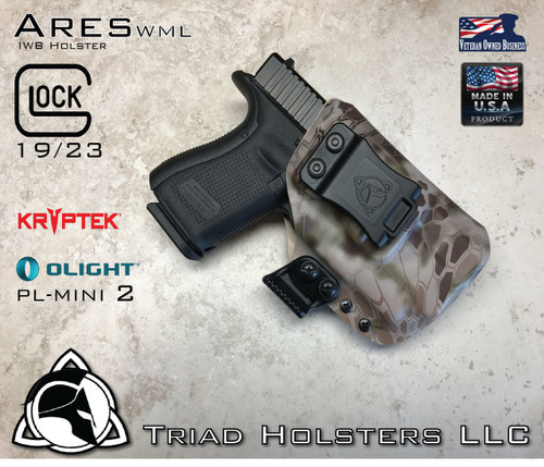 """ARES WML holster for the Glock 19/23,  See product listing for full compatibility list.  Shown in KRYPTEK Highlander, with 1.5"""" Belt Clip in Right Hand Draw."""