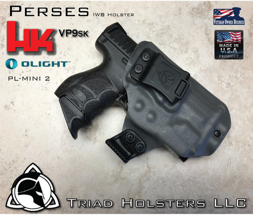 """Perses Holster shown for the HK VP9SK equipped wiht the Olight PL-MINI 2 weapon mounted light, Right Hand Draw, in Lone Wolf Gray, with Black Enhanced Triad Spartan 1.5"""" Clip, Zero Cant Angle"""