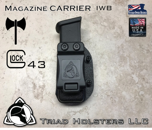 Magazine Carrier for Glock  43, in Tactical Black, Inside the Waistband.