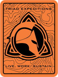"Triad Expeditions Live Work Sustain  3"" x 4"" UV Resistant Decal."