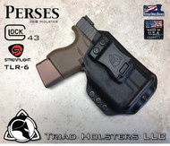 "Perses Rare Earth Magnet Retention Holster for the Glock 43 and the TLR-6.  Shown in Tactical Black with 1.5"" Black Belt Clip."