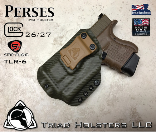 "Perses Rare Earth Magnet Retention Holster for the Glock 26/27 and the TLR-6.  Left Hand Version, Shown in Carbon Fiber Olive Drab, with 1.5"" Coyote Tan Belt Clip."
