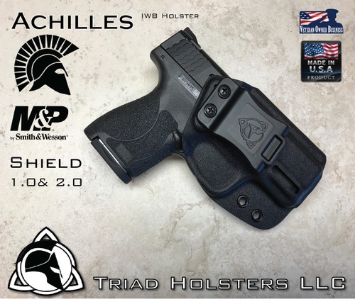 """Achilles Holster for the Smith and Wesson Shield 1.0 and 2.0, in Tactical Black, 1.5"""" Triad Enhanced Belt Clip, Right Hand"""