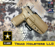 Achilles Outside the Waistband Holster shown for the Sig Sauer M17, Right Hand Draw, in Coyote Tan
