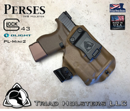 "Perses Rare Earth Magnet Retention Holster for the Glock 43 and the Olight PL-Mini 2.  Shown in Coyote Tan with 1.75"" Black Belt Clip."