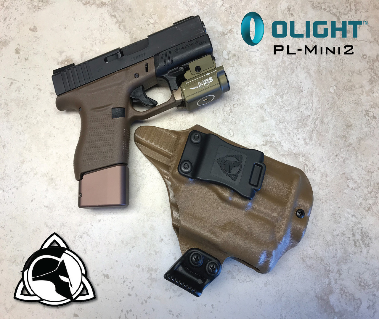Weapon Mounted Light Carry System Glock 43 and Olight PL-Mini2 IWB Inside  the Waistband