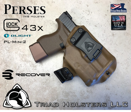 "Perses Rare Earth Magnet Retention Holster for the Glock 43x and the Olight PL-Mini 2.  Shown in Coyote Tan with 1.75"" Black Belt Clip."