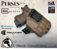 "Perses Rare Earth Magnet Retention Holster for the Glock 26/27/33 and the Olight PL-Mini 2.  Shown in Coyote Tan with 1.5"" Black Belt Clip."