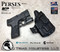 "Perses Rare Earth Magnet Retention Holster for the Smith and Wesson Shield 9mm and 40 S&W Version 1.o and 2.0 and the Olight PL-Mini 2.  Shown in Tactical Black with 1.5"" Black Belt Clip."