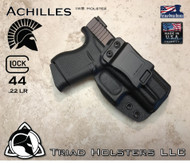 "Achilles Holster shown for the Glock 43, Right Hand Draw, in Tactical Black, with 1.5"" Clip,  Adjustable Cant Angle."