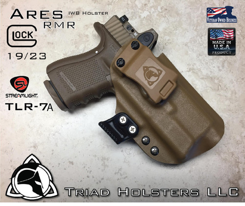 "ARES Holster shown for the Glock 19/23 equipped with the Streamlight TLR-7A weapon mounted light and RMR Optic, Right Hand Draw, in Coyote Tan, with Coyote Tan Enhanced Triad Spartan 1.5"" Clip, Zero Cant Angle"