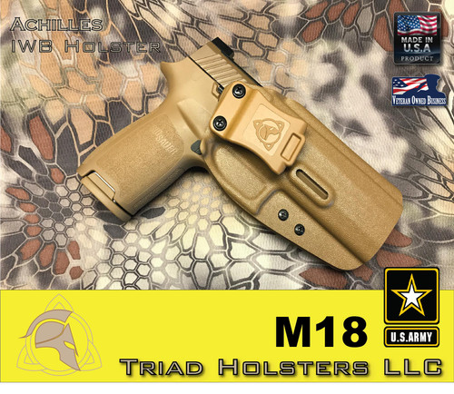 """Achilles Holster for the US Army M18 in Coyote Tan, 1.5"""" Triad Enhanced Belt Clip, Right Hand"""