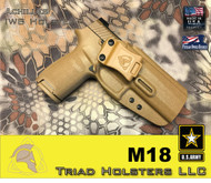 "Achilles Holster for the US Army M18 in Coyote Tan, 1.5"" Triad Enhanced Belt Clip, Right Hand"