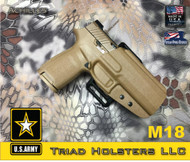 Achilles Outside the Waistband Holster shown for the Sig Sauer M18, Right Hand Draw, in Coyote Tan