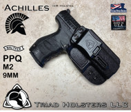 "Kydex holster for the Walther PPQ 9mm, Achilles Model, shown in Tactical Black, Right Hand, with 1.5"" Belt Clip."