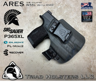 Perses holster for the Sig Sauer P365XL with a Red Dot Optic installed. Shown in Carbon Fiber Lonewolf Gray.  Right Hand, 1.5 Inch Belt Clip.