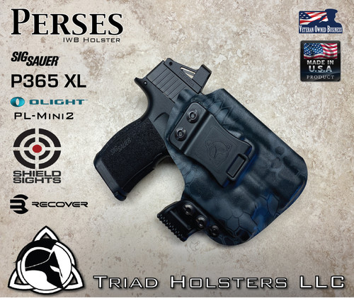 Perses holster for the Sig Sauer P365XL with a Red Dot Optic installed. Shown in Kryptek Neptune.  Right Hand, 1.5 Inch Belt Clip.