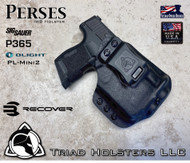 Perses holster for Sig Sauer P365 with Recover Tactical Rail Adaptor and the PL-Mini 2