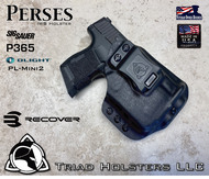 Perses holster for the Sig Sauer P365 with Red Dot Optic installed, Recover Tactical Rail Adaptor and the Olight PL-Mini 2.