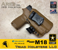ARES Holster shown for the Sig Sauer M18, equipped with the Olight PL-Mini 2,  Weapon Mounted Light, shown in Coyote Tan, 1.5 Inch Belt clip.