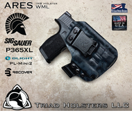 "ARES WML Holster shown for the Sig Sauer P365XL equipped with the Olight PL-Mini2, Right Hand Draw, in Kryptek Typhon, with Black Enhanced Triad Spartan 1.5"" Clip, Zero Cant Angle."