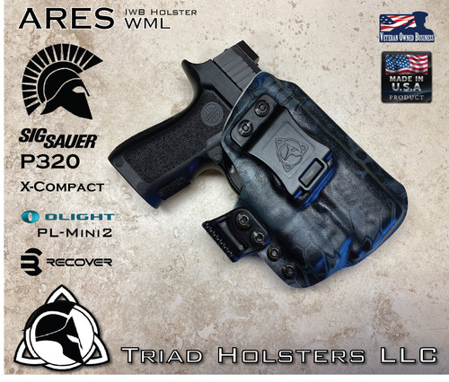 "ARES WML Holster shown for the Sig Sauer P320 X-Compact equipped with the Olight PL-Mini2, Right Hand Draw, in Kryptek Typhon, with Black Enhanced Triad Spartan 1.5"" Clip, Zero Cant Angle."