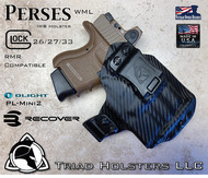 "Perses Rare Earth Magnet Retention Holster for the Glock 26/27/33 compatible with RMR, and the Olight PL-Mini 2.  Shown in Carbon Fiber Black with 1.5"" Black Belt Clip."