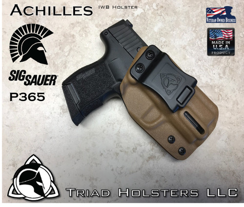 """Achilles Holster for the Sig Sauer P365 SAS in Coyote Tan, 1.5"""" Triad Enhanced Belt Clip, Right Hand"""