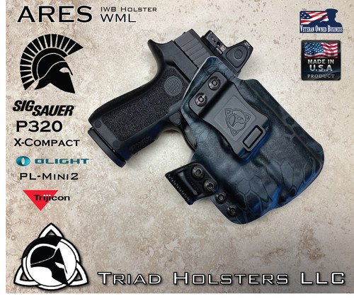 """ARES WML Holster shown for the Sig Sauer P320 X-Compact equipped with RDS (Red Dot Optic) and Olight PL-Mini2, Right Hand Draw, in Kryptek Typhon, with Black Enhanced Triad Spartan 1.5"""" Clip, Zero Cant Angle."""