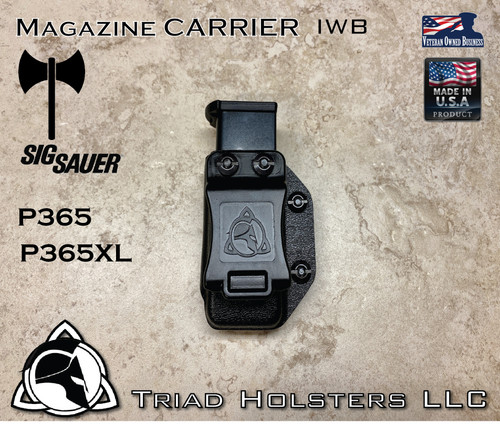 Magazine Carrier for Sig Sauer P365, P365SAS, and P365XL, in Tactical Black, Inside the Waistband.