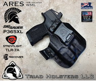 Perses holster for the Sig Sauer P365XL with a Red Dot Optic and Streamlight TLR-7A installed. Shown in Tactical Black.  Right Hand, 1.5 Inch Belt Clip.