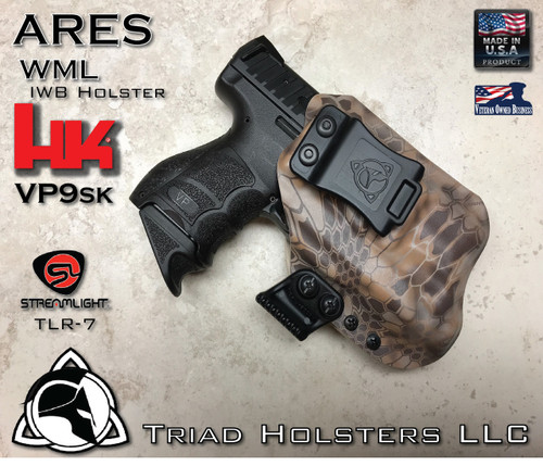 """ARES WML Holster shown for the HK VP9SK equipped with TLR-7A, Right Hand Draw, in Kryptek Banshee, with Black Enhanced Triad Spartan 1.5"""" Clip, Zero Cant Angle."""